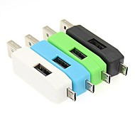 OTG USB Micro TF Card Reader  and 2.0 HUB for Samsung Galaxy/ Smart Phone/USB PC (Assorted Colors)