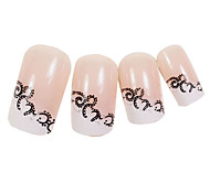 24PCS Arabesque Design Pink Nail Art French Tips With Glue