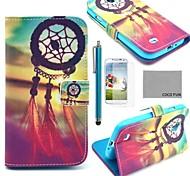 estojo de couro pu Coco divertido ® padrão nó chinês com protetor de tela, caneta e ficar para i9500 samsung galaxy s4