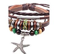 Unisex's Starfish Multilayer  Leather Braided Bracelets