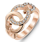 Fashion 18K Rose Gold Plated Ring White Cubic Zirconia Rings for Women