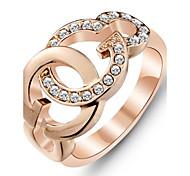 Fashion 18K Rose Gold überzogene Ring Weiß Zirkonia Ringe für Frauen