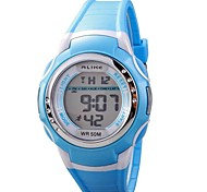 Children's Multi-Functional Round Dial LCD Digital Wrist Watch 50m Waterproof (Assorted Colors)