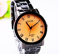 Coway Men's Round Yellow Dial Silver Alloy Band Quartz Analog Waterproof Wrist Watch(Assorted Color)