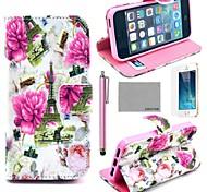 COCO FUN Floral Torre Eiffel Padrão PU Leather Case ® Full Body com Filme, Stand e Stylus para iPhone 5/5S