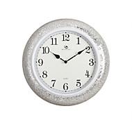 "15.2""H Modern Style Round White Polyresin Wall Clock"