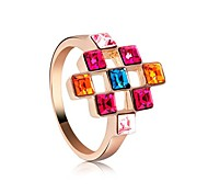 Women's Seven Colour Crystal Ring By Austrian Crystal Elements