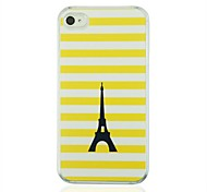 Yellow Striped Black Tower Leather Vein Pattern PC Hard Case for iPhone 4/4S
