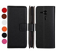 Solid Color Pattern PU Leather Full Body Case with Stand and Card Slot for Sony Xperia SP M35h (Assorted Colors)