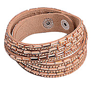 Multilayer Champagne hinestone Leather Bracelet