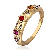 Fashion Jewelry Inlaid Zircon Gold Plate Women's Ring (1 Pcs)