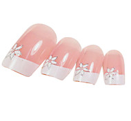 24PCS Sexfoil Design Pink Nail Art French Tips With Glue