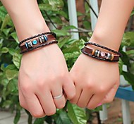 pulseras trenzadas de cuero unisex (color al azar)