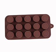 Silicone 15 Holes Cylinder Pattern Chocolate Mold,20.5x10x2cm