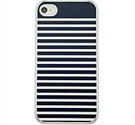 Black White Stripes  Leather Vein Pattern PC Hard Case for iPhone 4/4S