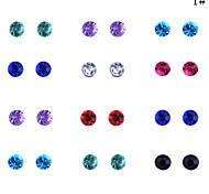 Lureme®Fashion Crystal Earrings(12Pairs/Set)