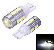 Merdia T10 10X5630SMD LED y 1 condensador de la lente de la luz blanca del lado luminoso / día LED (12V / par)