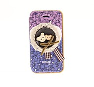 Korean Version Cloth Flowers Series Style Purple Flowers the Bottom with Two Winnie PU Leather Full Body Cases for iPhone 4/4S