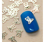 200PCS Cute Baby Bear Shape Slice Metal Nail Art Decoration