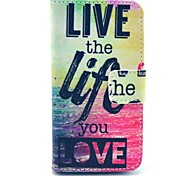 Live Life Sea Pattern PU Leather Full Body Case with Stand for iPhone 4/4S