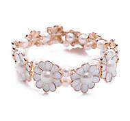 Korean Star Enamel Flower Elastic String Charm White Pearl Bracelets