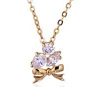 женская новое прибытие золото 18k покрыло элегантные бестселлерами лук дизайн циркон ожерелье d0619