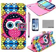 de coco diversión del modelo del búho novedad ® caja de cuero de la PU con el protector de pantalla, aguja y soporte para Samsung i9300 galaxy s3