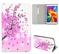 \ Motif de fleurs rose Folio Stand veille automatique / sillage étui en cuir pour samsung galaxy tab 4 7,0 t230