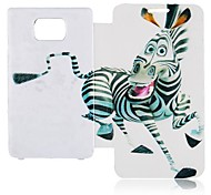 Cartoon Zebra Leather Full Body Case voor Samsung Galaxy S2 I9100