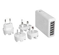 Multiple Plug 6-female USB HUB Wall Charger Travel Charger (White)