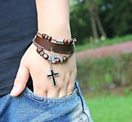 Unisex's Cross Beads Leather Braided Bracelets