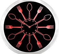 Spoons and Forks Kitchen Decor Neon Sign LED Wall Clock