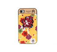 Korean Version Cloth Flowers Series Style Yellow Bottom Dark Red Flowers Plastic Hard Case for iPhone 4/4S