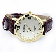 Men's Fashion Diamante Waterproof Luminous Leather Wrist Watch