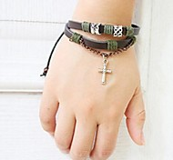 Unisex's Fashion Cross Beads Leather Braided Bracelets