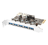 7-Port SuperSpeed ​​USB 3.0 PCI-E Express Card d'expansion avec 5V connecteur d'alimentation 4 broches pour PC de bureau