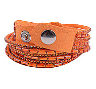 Multilayer Orange Rhinestone Leather Bracelet