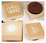Vintage Effel Tower Crown Flowers  Wooden Stamps Scrapbooking (4-Pack)