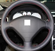 XuJi ™ Black Genuine Leather Steering Wheel Cover for Peugeot 307