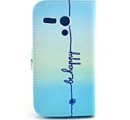 Be Happy Pattern PU Leather Case Cover with Stand and Card Slot for Motorola MOTO G