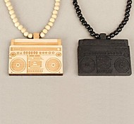 Radio Pattern Wood Necklace