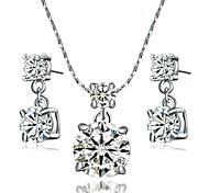Crystal Jewelry Set 18K White Gold Pated Pendant Use Austrian Crystal Necklace Earrings Sets