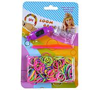 kits para el arco iris colorido telar (250pcs banda, reciclan aguja de ganchillo, 12 s ganchos, un reloj electrónico)