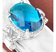 Classique Moonstone Quartz Vert Bleu Topaz Gemstone Silver Ring 1PC