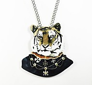 Tiger Pattern Wood Necklace