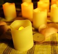 conjunto de 12 de marfil sin llama de plástico de color llevó velas votivas con mando a distancia