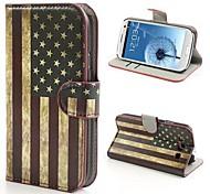 USA-Flagge Muster PU-Leder mit Standplatzabdeckung Ganzkörper-Stand Fallabdeckung für Samsung i9300 Galaxy S3