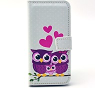 Heart Owl Family PU Leather Case with Card Holder for Samsung Galaxy S4 Mini I9190