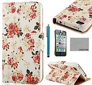 COCO FUN ® Rose Wit Patroon PU Leather Full Body hoesje met Screen Protector, Stand en Stylus voor iPhone 4/4S