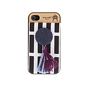Korean Version Cloth Flowers Series Black&White Stripes Bottom Buttonlike Hard Back Case for iPhone 4/4S